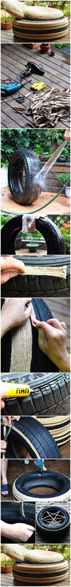 Put a straw mat, the sofa made from old tire was completed! This style has a little theatrical flavor, I like it! What we need: Old Tire Wide flat hemp rope Glue Drill Scissors Hair dryer Mat Diy Sofa, Home Crafts, Diy Home Decor, Diy And Crafts, Outdoor Projects, Diy Projects, Tire Ottoman, Eco Deco, Tire Seats