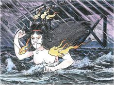 Hashihime, Yokai: Hashihime are intensely jealous goddesses who inhabit bridges — in particular, very old and very long bridges. As goddesses, hashihime may take different forms depending on occasion, however they are commonly depicted wearing white robes, white face-paint, an iron trivet, and carrying five candles. This is a ceremonial outfit used to perform curses.