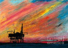 Oil Pastels Featured Images - Rig at Sunset  by R Kyllo