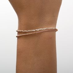 rose gold sterling silver beads mixed with pure silver faceted nugget beads. logo charm contains a tiny diamond. 18k Rose Gold, Silver Beads, Sterling Silver, Logo, Diamond, Bracelets, Collection, Jewelry, Fashion