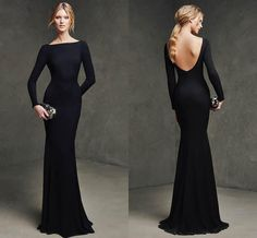 Long Sleeve Prom Dresses 2015 Mermaid Cheap Sexy Backless Evening Gowns Formal Sheath Black Zuhair Murad Prom Dress With Bra Floor Length