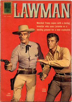 A Dell edition centers around the efforts of Marshal Troop to protect his town from being utilized as a test site for explosives applications. Great Tv Shows, Old Tv Shows, Vintage Tv, Vintage Comics, Peter Brown Actor, Comic Book Covers, Comic Books, Western Comics, Western Art