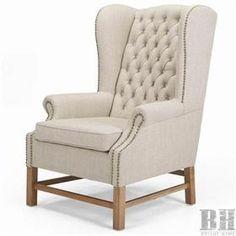 gray tan wingback chair