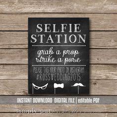 Selfie Station Photo Booth Chalkboard Sign Printable Grab A Prop Strike Pose Instagram Hashtag Wedding