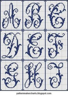 Free Easy Cross, Pattern Maker, PCStitch Charts + Free Historic Old Pattern Books: Sajou No 204 Cross Stitch Alphabet Patterns, Cross Stitch Letters, Cross Stitch Cards, Beaded Cross Stitch, Crochet Cross, Cross Stitch Designs, Cross Stitching, Cross Stitch Embroidery, Embroidery Patterns