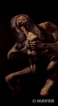 """무제, 소위 '아들을 먹어치우는 사투르누스', """"검은그림""""의 연작 - 프란시스코 고야    전설에 의하면 어머니인 대지의 여신으로부터 자신의 아들들에게 지배권을 빼앗길 것이라는 경고를 받은 사투르누스는 아들들을 차례대로 잡아먹는다. 불안함과 공포, 두려움에 사로잡힌 작품속 인물의 눈빛과 아들을 먹어치우고 있다는 잔인함 때문에 이 그림은 매우 무섭고 불쾌하다. 그림 속 사투르누스는 정상인 상태라기보다는 미친듯한 표정이고 눈빛도 두려움과 불안함과 공포에 사로잡혀 정신이 나간 사람같다. 다른 화가 루벤스는 사투르누스보다 기겁에 질린 아이의 표정을 집중적으로 표현했지만, 고야는 이를 변형시켜 자신의 행위 조차 인식하지 못하고 있는 광기와 피해망상에 사로 잡힌 사투르누스에 초점을 맞추어 그렸다고 전해진다."""