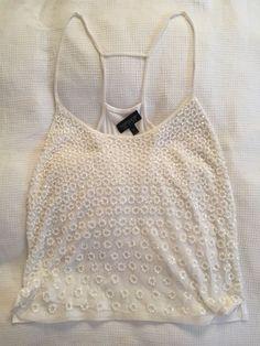 d80bca96fc5e4a Topshop White Sequin Spaghetti Strap Cami Vest Top    Size 10   S  fashion