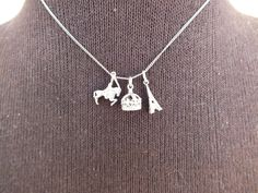Sterling Silver Charm Necklace Choker Chain, 3 Charms Eiffel Tower, Horse, Crown, Vintage Precious Metal Jewelry Free Shipping and Gift Box by GiftShopVintage on Etsy