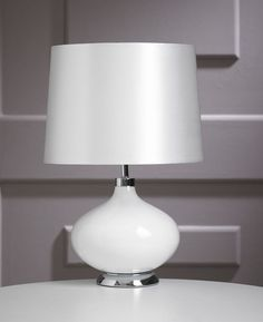 Contemporary White Ceramic Marilyn Round Base Bedroom Table Lamp – 42cm Height