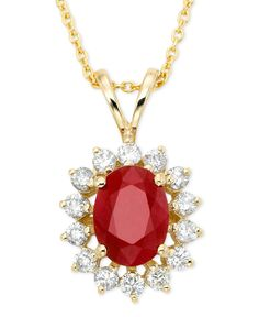 Royalty Inspired by Effy Ruby (1-3/8 ct. t.w.) and Diamond (3/8 ct. t.w.) Pendant in 14k Gold