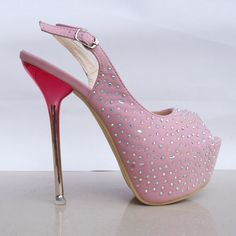 Pink open toe and open back heels with rhinestones Glitter High Heels, Pink High Heels, Super High Heels, Glitter Shoes, Pink Shoes, Girls Shoes, Stiletto Heels, Women's Shoes, Hot Shoes
