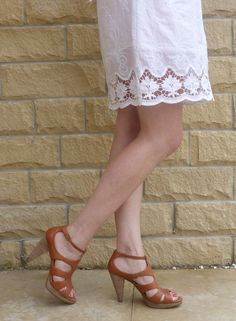Outfit: White Lace Dress and Strappy Tan Heels