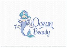 Logo for sale: Beautiful illustrative mermaid woman logo design with the mermaid lady sitting on the bottom of the ocean sea floor in a natural setting. Aqua teal colors and purple shades are used create a mythical and magical ambience. Beautiful aquatic mermaid logo with a natural flowing fin and hair. Blue oceanic colors are used to represent the ocean sea.
