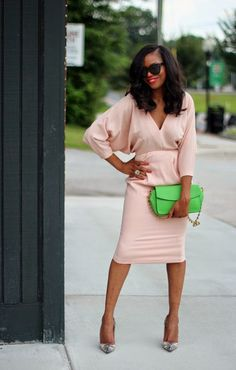 Peaches: love the soft color of the top and skirt'