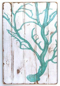 Coral Aqua Floorboard Art