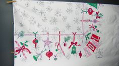 Vintage HUGE Luther Travis CHRISTMAS TABLECLOTH  Mid Century