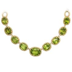 Faraone Mennella Peridot diamond gold Necklace | From a unique collection of vintage choker necklaces at https://www.1stdibs.com/jewelry/necklaces/choker-necklaces/