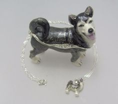New Trinket Box Gift Crystals Black and White Husky Dog Animal Necklace