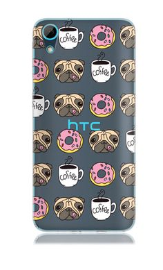 HTC Desire 626 / HTC D626 Clear Tpu with Pug and Coffee Design Soft and Flexible Silicone Skin Phone Case | www.nucecases.com | #HTC #nucecases