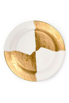 KELLY WEARSTLER | DOHENY DINNER PLATE. Fine china with 22k gold.