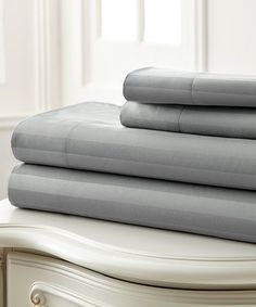 Look what I found on #zulily! Gray Dobby Stripe Hotel 5th 400-Thread Count Sheet Set #zulilyfinds