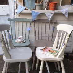 Old Summerhouse vintage 'mismatched' chairs ***£62** each  Supplier to Great British Bake Off  To order your bespoke set in pretty French pastels www.etys.com/shop/theoldsummerhouse  www.facebook.com/theoldsummerhouse