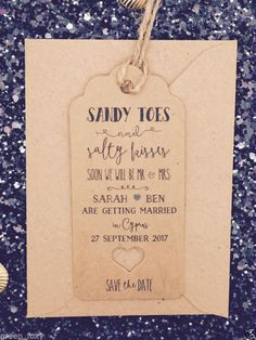 """Salty Kisses"" Save The Date For Wedding Abroad Invitation with Envelope"