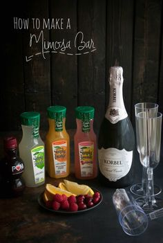 How to make a mimosa bar, brunch cocktails, girls night in, mimosa bar, how to set up a mimosa bar, wedding shower cocktail ideas, new years eve cocktails, wedding party mimosas, different kinds of mimosas http://www.sweetphi.com/make-mimosa-bar/