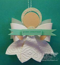 Stampin Up bow die angel ornament by Debbie Henderson