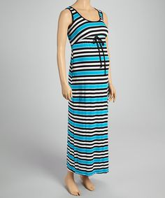 Take a look at the Mom & Co. Black & Teal Stripe Maternity Maxi Dress on #zulily today!