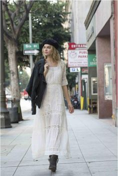 Long Dress with Lace, Buttoned on the Back Cotton, Sizes SM and ML, Color Ivory Made In China Modest Outfits, Stylish Outfits, Dress Outfits, Casual Dresses, Summer Outfits, Dress With Jean Jacket, Dress With Boots, Boho Dress, Lace Dress