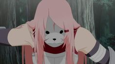 Anbu sakura.. I truly love her with the short hair because it made her seem so much more mature and stronger in will but still.. I have a really bad thing for long hair.. I just love it (I myself have long blue-dyed hair so.. )