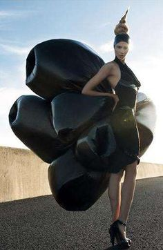 Bin Bag Couture... voluminous dress made from garbage bags - upcycled fashion; alternative materials; trashion