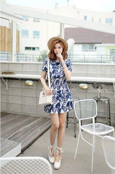 Envy Look - Mandarin-Collar Smocked-Waist Printed Dress #mandarincollar #smockedwaist #printed #dress