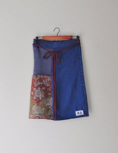 Upcycled Patchwork Sweater WrapSkirt in Indigo by RebirthRecycling