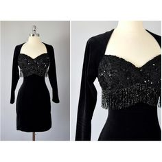 vintage 80s black sequin sweetheart bust velour spandex wiggle dress... ($27) ❤ liked on Polyvore featuring dresses, vintage dresses, beaded fringe dress, vintage sequin dress, sequin fringe dress and vintage 80s dress