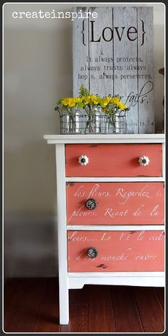 Dresser Rescue! You could aslo do this with @American Paint Company 's Navajo White and Coral Reef!