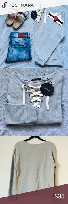 NWT Lace-up Harlow & Graham Gray Crewneck Sweater NWT Lace-up Harlow & Graham Gray Crewneck Sweater. Never worn brand new. Super cute trendy lace-up neckline. Pair with jeans and a cute choker. Harlow & Graham Tops Sweatshirts & Hoodies