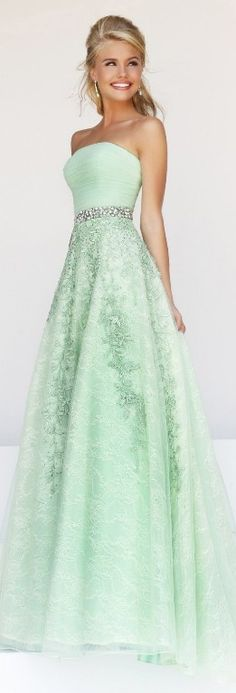 Mint green lace gown, absolutely gorgeous!