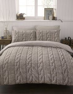 cable knit bedding. Cozy for winter!!!