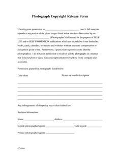 Photography Free Generic Photo Copyright Release Form - PDF | eForms – Free Fillable Forms