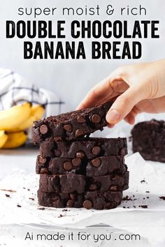 Somewhere between fudgy chocolate brownies and banana bread, this double chocolate banana bread is super moist, rich, and a killer recipe! #chocolatebananabread #doublechocolate #chocolatechips #moist #loafcake Chocolate Banana Bread, Healthy Banana Bread, Chocolate Desserts, Chocolate Brownies, Easy Bread Recipes, Banana Bread Recipes, Loaf Recipes, Quick Bread, Muffin Recipes