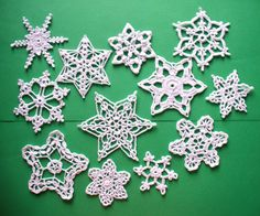 Hand Crocheted Snowflakes.. One dozen by DonnasCrochetNook on Etsy