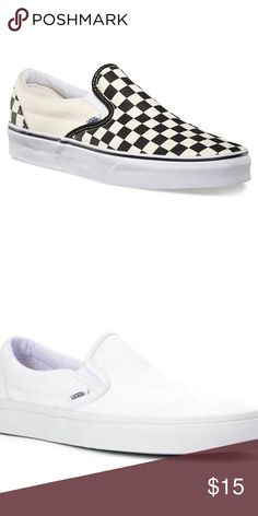 Shop Women s Vans Cream Black size Sneakers at a discounted price at  Poshmark. Description  The checkerd cream and black slip on vans 581bcc6d36