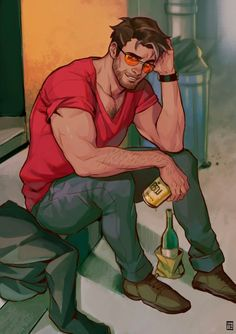 Drunk Daddy Robert Giving a try to simple backgrounds and stuff 🙃 Dream Daddy Game, Dream Daddy Fanart, Craig Dream Daddy, Character Concept, Character Art, Comics Illustration, Gay Comics, Art Of Man, Fantasy Male