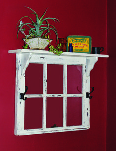this old window frame topped by a shelf would be great to frame a quilt scrap or black and white family photos