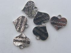 BULK 20 Bridesmaid pendants antique silver tone M478