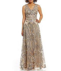 d7a10a4fb22 David Meister Vintage V-Neck Metallic Embroidered Gown Mob Dresses