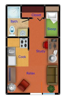 Studio Apartment Floor Plan. This would work nice as a tiny house.