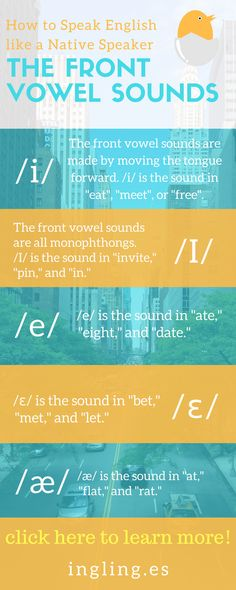 Do you know what the front vowel sounds are? Find out by taking my FREE accent course: https://ingling.es/new-cover-page/ english pronunciation, american english, american english pronunciation, american english accent, american english speaking, accent reduction, how to speak american english, pronunciation english, How Speak English, Improve English Speaking, English Fun, American English, English Tips, English Class, Learn Phonetics, Phonetics English, English Phrases